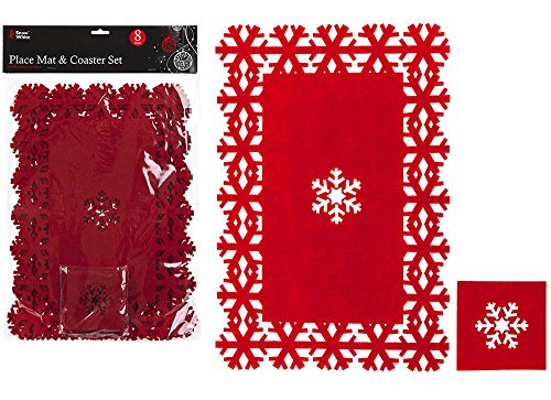 Juego de manteles Individuales de Fieltro de poliéster, 8 Unidades, Color Rojo