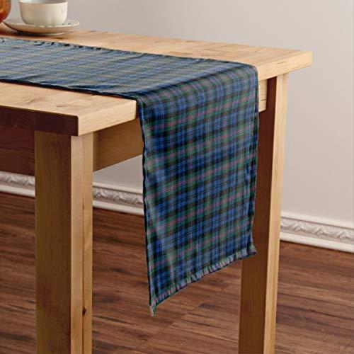CICIDI Clan Baird - Camino de mesa corto, diseño de tartán escocesa, color azul y verde, para fiestas, cenas, vacaciones, cocina, 33 x 70 pulgadas