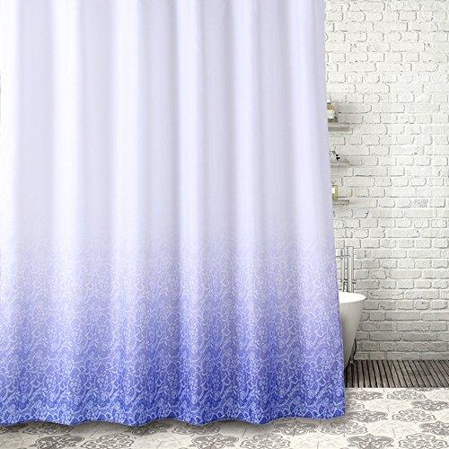 Farbverlauf Duschvorhang Anti-Schimmel & Wasserdicht Polyester Duschvorhang mit verstärktem Saum mit Haken Lila Weiß 180x180cm