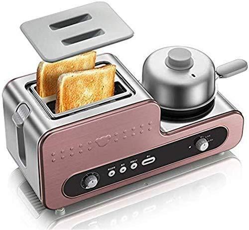 Panaderos, 2 en 1 Multifuncional Desayuno Máquina Horno Tostador Huevos cocidos al Vapor Tortilla de Huevo máquina de Hacer Salchichas Tortilla sartén Textura de Acero Inoxidable ZHW345
