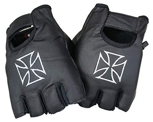 EURO STARS Biker Fingerlose Chopper Lammleder Handschuhe Schwarz, Motorcycle Fingerless Leather Gloves (M, Schwarz)