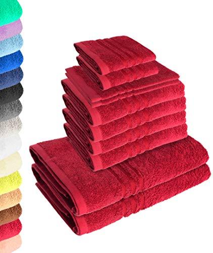 Lavea Juego de 10 toallas Elena - Burdeos, 4 toallas de mano, 2 toallas de ducha, 2 toallas de invitados, 2 manoplas de baño, 100% algodón