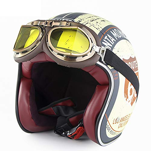 EDW Offener Vintage Motorradhelm (Route 66) DOT 3/4 Mofa Motorrad Bobber Moto Biker Retro Roller-Helme Cruiser Chopper Jet-Helm mit Sonnenblende Schutzbrille,M(56~57CM)