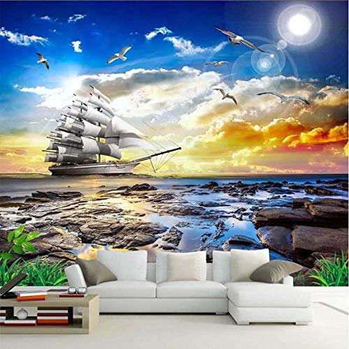 Hyllbb Benutzerdefinierte Foto Tapete 3D Meerblick Möwe Segelboot Sonnenaufgang Landschaft Malerei Wohnzimmer Sofa Schlafzimmer Wandbild De Parede 3D-140cmx100cm