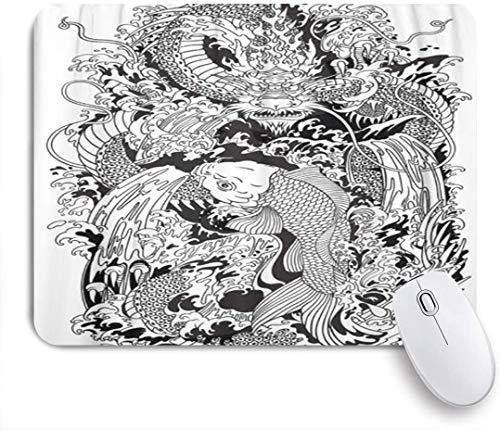NANITHG Stoff Mousepad,Asiatischer Drachen und Koi Karpfenfisch, der versucht, die Spitze des Wasserfalls zu erreichen,Rutschfest eeignet für Büro und Gaming Maus