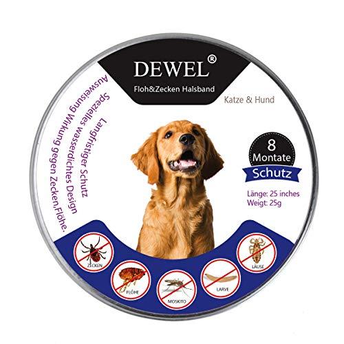 DEWEL Collare Antipulci Impermeabile per Gatto e Cane,63,5cm Collare Antiparassitario Regolabileper per Zecche 1pcs