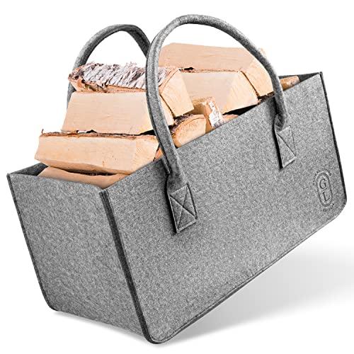 GLOBAL LIVING® Filztasche groß [31 Liter] I Ideal als Kaminholzkorb oder Einkaufstasche I Vielseitiger Filztaschen Shopper mit 14 kg Tragfähigkeit