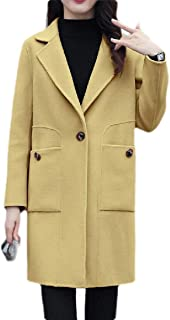Macondoo Women Lapel Winter Outwear One Button Pea Coats with Pockets