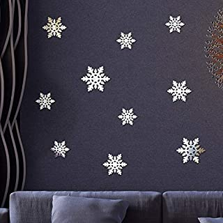Fine Christmas Snowflake Window Mirror Sticker- 10PCS Removable PVC Wall Window Sticker for Christmas, Holiday, Winter Wonderland Gold/Silver Decorations