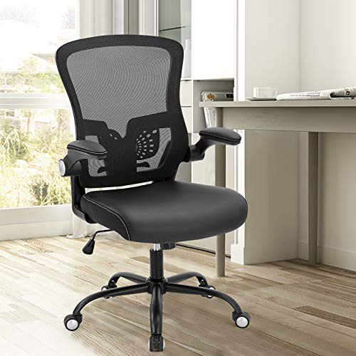 SAMOFU Office Chairs, Ergonomic Desk Chair Executive Chairs with Soft Seat and Mesh Backrest, High Back Swivel Computer Chair with Adjustable Lumbar Support, Flip-up Armrests, Hold Up to 300LB