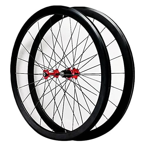LICHUXIN 700C Bicicleta Carretera Juego Ruedas Fuera del Camino Delantero Trasero Rueda Freno V/C Llanta De Aleación Aluminio De Doble Pared 7 8 9 10 11 12 Velocidad (Color : Red, Size : 700C)