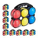 Relaxdays 10 Packs Petanca para Niños con 60 Bolas, 10 Boliches y 10 Estuches, Plástico, Multicolor, 19 x 22 x 7 cm