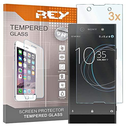 REY Pack 3X Panzerglas Schutzfolie für Sony Xperia XA1 Plus, Bildschirmschutzfolie 9H+ Festigkeit, Anti-Kratzen, Anti-Öl, Anti-Bläschen