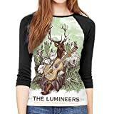 Reginald C Kidder The Lumineers T Shirts Women's 3/4 Sleeve Round Neck Shirts Casual Blouses Black