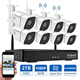 Wireless Security Camera System Outdoor, Firstrend 1080P NVR Security Camera System with 8pcs 1.3MP IP Security Surveillance Cameras,P2P RemoteHomeMonitoringSystems with Free App and 2TB Hard Drive