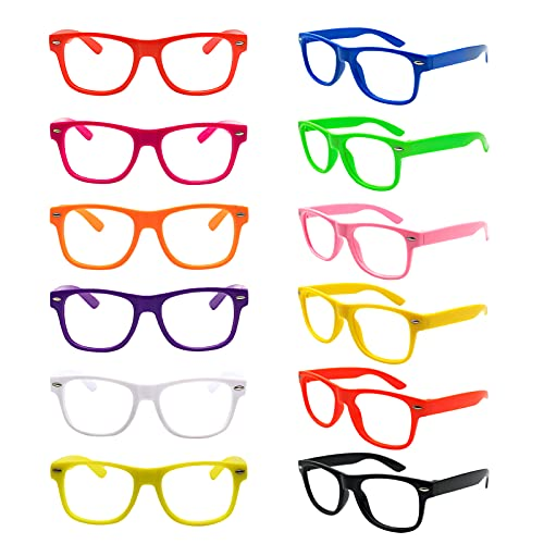 12 Pack Kids NO LENS Ultralight Square Costume Frame Glasses Neon Color Party Favors for Boys Girls Daily Outfit Accessories