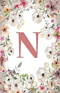 N: Monogram Initial Name Notebook (journal, composition, Diary, Ruled , scrapbook) 120 Lined Pages 60 Sheets for Kids, Girl, Woman and School 5.5 x 8.5, Pink Floral (Pocket Size) (Volume 14)