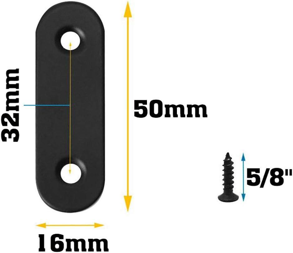 24 Sets Stainless Steel Black Straight Brackets Flat Metal Brackets Mending Repair Plate Brace with Screws for Wood 40mm 50mm 60mm 80mm