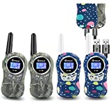 Kids Walkie Talkies 4 Pack Rechargeable, Kids Walkie Talkies with Batterries, Handheld Two Way Radio Walky Talky Sets for Family Camping, Xmas Birthday Gifts Presents