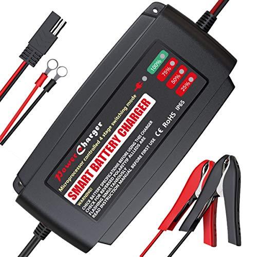 BMK Autobatterie Ladegerät 12V 5A Tragbar Batterieladegerät Auto IP65 Vollautomatisches Ladegerät Aktualisierte Version mit Mehrfachschutz Erhaltungsladegerät für Auto Motorrad Rasenmäher