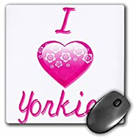 3drose PrettyピンクFlowery I Love Yorkies–マウスパッド、8× 8インチ(MP 121846_ 1)