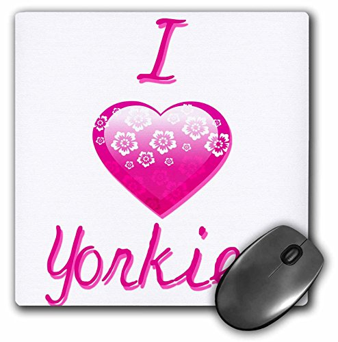 3dRose Pretty Pink Flowery I Love Yorkies - Mouse Pad, 8 by 8 inches (mp_121846_1)