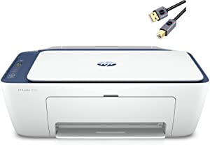 HP DeskJet 27 Series All-in-One Color Inkjet Printer I Print Copy Scan Fax I Wireless USB Connectivity I Mobile Printing I Up to 4800 x 1200 DPI Up to 7 ISO PPM I Blue Steel + HDMI Cable