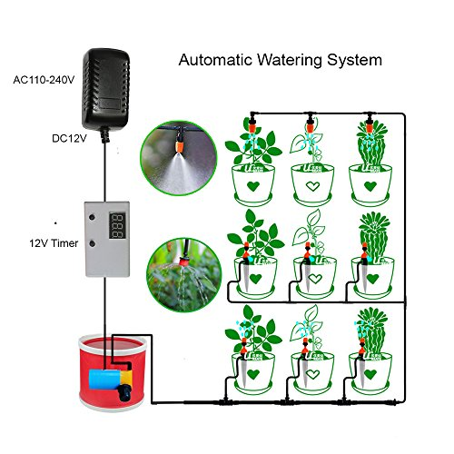Indoor Plant Automatic Watering System Timer Irrigation with Adjustable Dripper Kit for Home Indoor Garden Patio Lawn Flower
