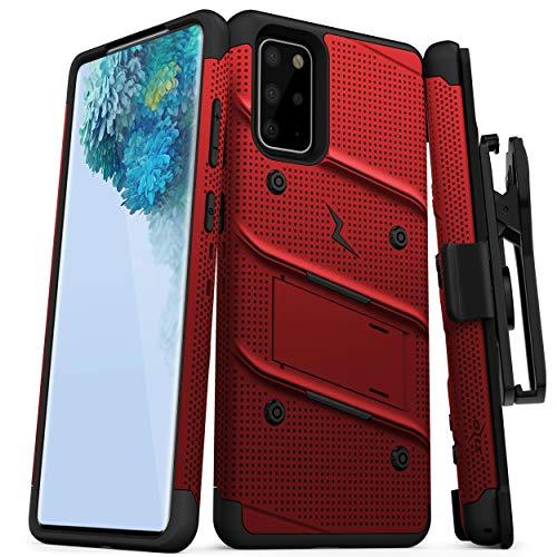Zizo Bolt Series Schutzhülle für Galaxy S20 Plus, mit Ständer und Schlüsselband, rot / schwarz