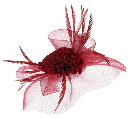 GEMVIE Chapeau Bibi Voile Femme Mariage Fleur Pince à Cheveux Bordeaux