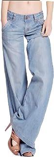 Maweisong Women Boyfriend Low Rise Baggy Fit Washed Wide-Leg Jeans Denim Pants