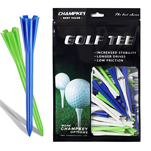 CHAMPKEY SDP Plastic Golf Tees Pack of 120-1.5',2-3/4',3-1/4' Available, More Stable and Durable Tees (Mix Color, 3-1/4')