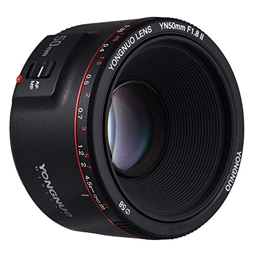 YONGNUO YN50MM F1.8 II AF/MF 0,35 M Fokusabstand Standard Prime Objektiv Schwarz für Canon DSLR Kamera + NAMVO Diffusor