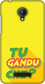 Micromax Canvas Spark Q380 Case, Premium Handcrafted Designer Hard Shell Snap On Case Shockproof Printed Back Cover for Micromax Canvas Spark Q380 - Tu Gandu Che?