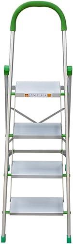 QTPL Schritt-Leiter der Aluminiumlegierungs-4 mit Griff-Griff Rutschfester Tritt Beweglicher faltbarer Trittleiter-Hocker Haushalt Multifunktions-kompakter Küchenhocker Gartenwerkzeug DIY Sicherheitsl