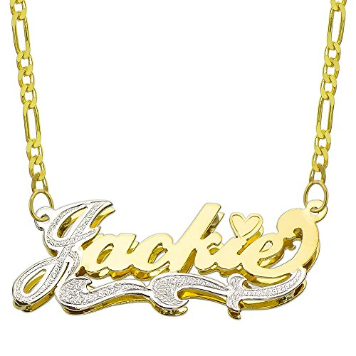 Pyramid Jewelry 14K Two Tone Gold Personalized Double Plate 3D Name Necklace - Style 2 (16 Inches, Light Figaro Chain)