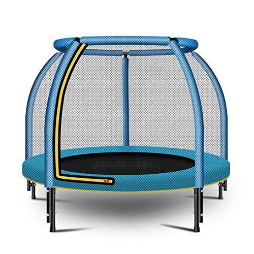ZTGHS Trampolin Für Kinder Erwachsene, Trampolin Mit Sicherheitsgehäuse Netzsprungmatte Und Federbezug Polsterung Indoor Outdoor Garten Springbett,Blau