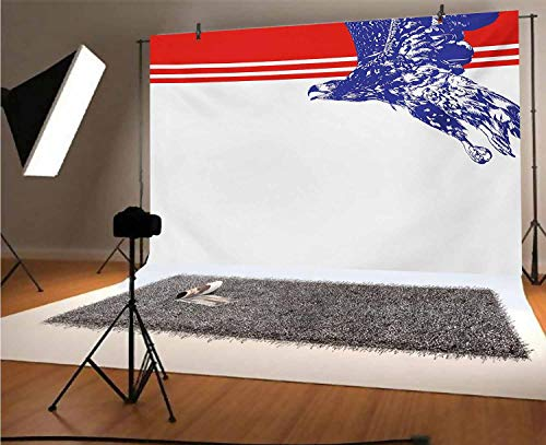 Eagle 10x8 FT Vinyl Photography Backdrop,Colors of the American Flag Red White Blue Bird Symbol of America Loyalty Background for Photo Backdrop Baby Newborn Photo Studio Props