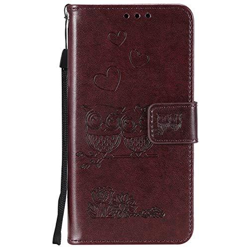 Tosim Huawei Honor 9 Hülle Leder, Klapphülle mit Kartenfach Brieftasche Lederhülle Stossfest Handy Hülle Klappbar für Huawei Honor 9 - TOHHA100526 Brown