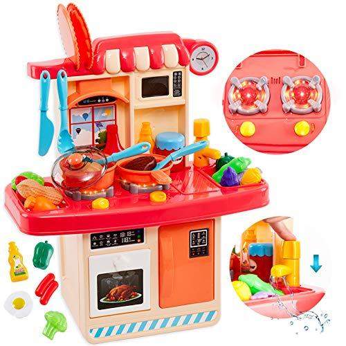 HERSITY Cucina Giocattolo Bambini con Forno e Frigorifero, Funzione Acqua Luci e Suoni Cibo Accessori Alimenti Finto Piccolo Chef Giochi di Imitazione per Bambini