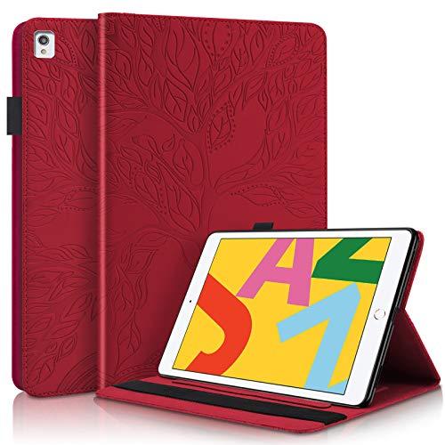 JCTek Funda protectora compatible con iPad de 8ª generación 10.2 pulgadas 2020, PU cuero Smart Case Stand Shell Flip Cover para iPad 7ª generación 10.2 pulgadas 2019 (rojo en relieve)
