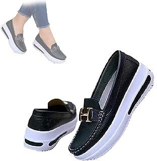 Hengyuan Mocassins Confortables à Plateforme pour Femmes, Chaussures de Marche orthopédiques et diabétiques en PU, Chaussu...