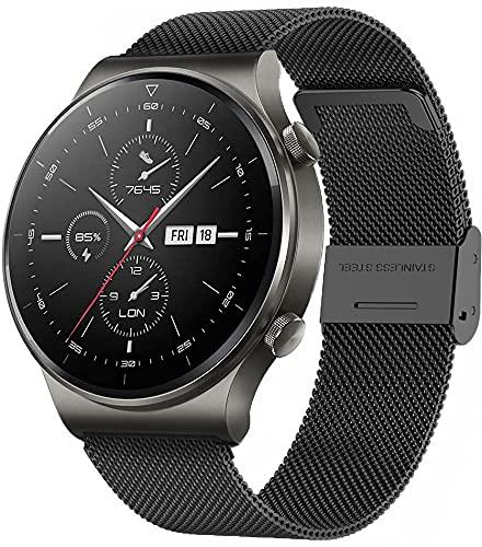 ANMI Smartwatch Uomo Orologio Fitness con Chiamata Bluetooth,Impermeabile, Cardiofrequenzimetro da Polso, Activity Tracker Sportivi Contapassi Controllo Musica Cronometro per Android iOS (Nero)