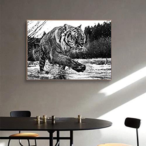 Tingting Cuadro de Lienzo de Tigre Blanco y Negro, póster con impresión artística de Animales Salvajes, Pintura de Pared...