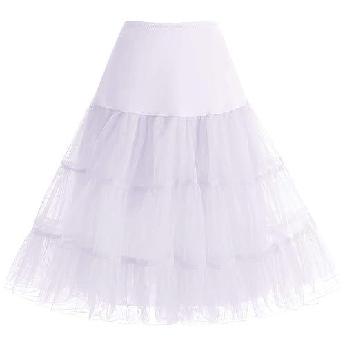 bbonlinedress Organza 50s Vintage Rockabilly Petticoat Retro Underskirt Knee Length Crinoline Half Slips