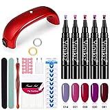 MX Kingdom One Step UV Kit de Esmalte de uñas en Gel 3 en 1 Soak OffUV LED Barniz de uñas Forma de la Pluma Nail Art Set No es Necesario aplicar una Capa Superior de Base Barniz de Gel( 5 Colores )