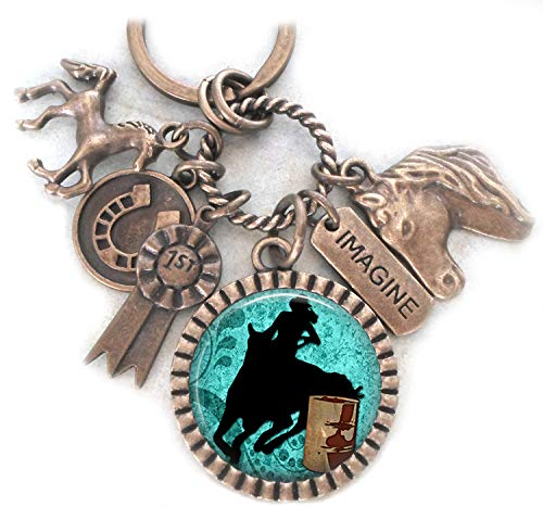 Rodeo Horses, Barrel Racer Keychain, Saddle/Backpack Clip or Necklace, First Place, Champion, Cowgirl, Cowboy, Unisex Gift, Equestrians.