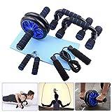4YANG 5-en-1 AB Roller Set Incl con Barra de Empuje, Cuerda para Saltar y Rodillera, Equipo de Entrenamiento en casa para el Ejercicio en el hogar Muscle Strength Fitness