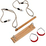 happypie 3 in 1 Wooden Trapeze with Plastic Steel Gym Rings Red and Hard Wood Swing Seat