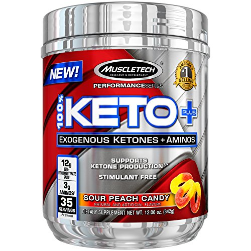 MuscleTech 100% Keto Plus Ketones Supplement, Exogenous Ketones & Aminos, Sour Peach Candy, 35 Servings (342g)